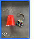 materials to make a wind chime from a plastic cup