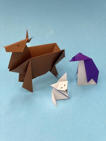 Image of origami deer, fox and penguin